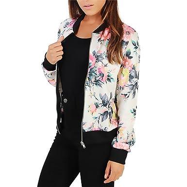Mujer Chaquetas Bomber Deporte Otoño Invierno Outdoor Manga Larga Stand Cuello Cremallera Jacket Elegantes Vintage Estilo Etnica Flores Impresa ...