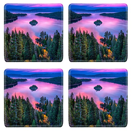Sierra Accent End Table (Luxlady Natural Rubber Square Coasters IMAGE ID: 22229066 High angle view of a lake Lake Tahoe Sierra Nevada California)