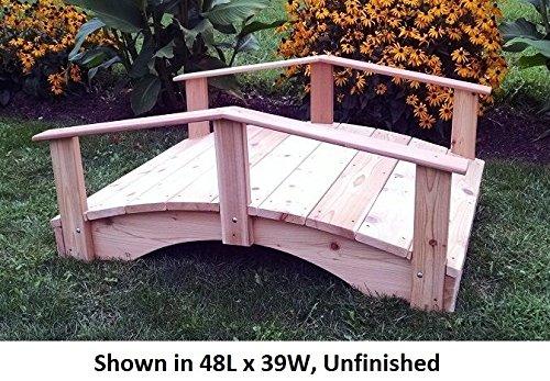 Amish-Made Weight-Bearing Cedar 3' x 6' Oriental Garden Bridge, Redwood Stain (Cedar 6' Garden Bridge)