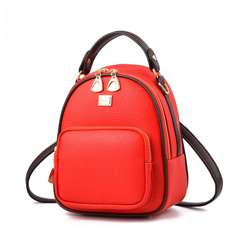 Gashen Women's Mini PU Leather Backpack Purse Casual Drawstring Daypack Convertible Shoulder Bag (red)