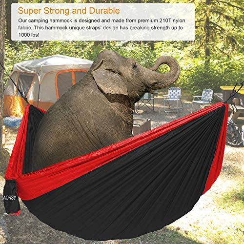 Camping Hammock, XL Portable Hammock for 2 Person Backpacking Travel Lightweight Hammock Single Double Parachute Nylon Waterproof Foldable Hiking Hammock with 2 10ft Straps – Heavy Duty Red Black