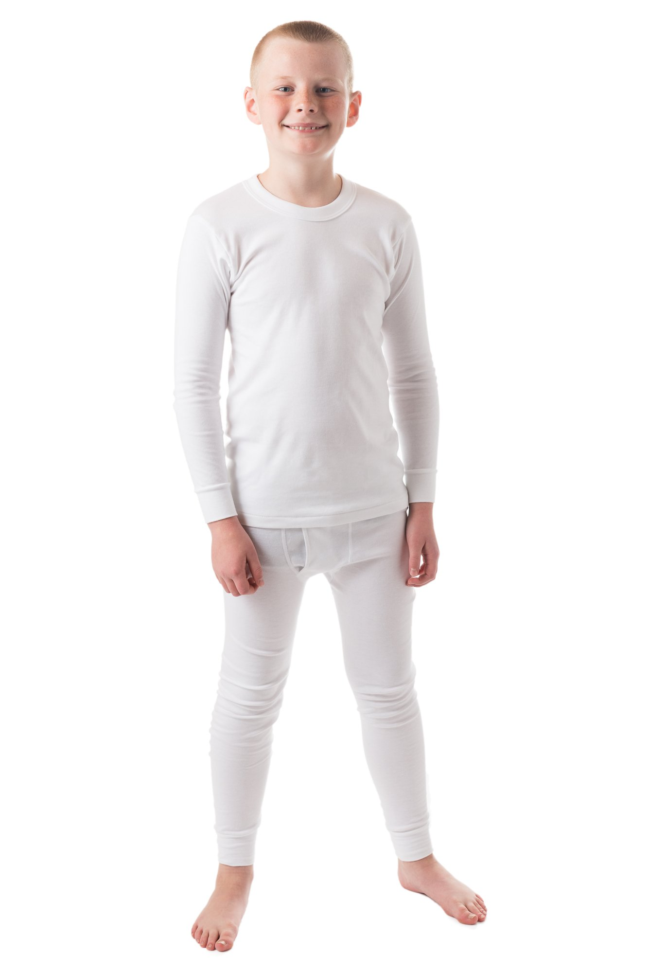 Boy's Round Neck Long Sleeve Top & Bottom 100% Cotton Thermal Underwar (Large, White)