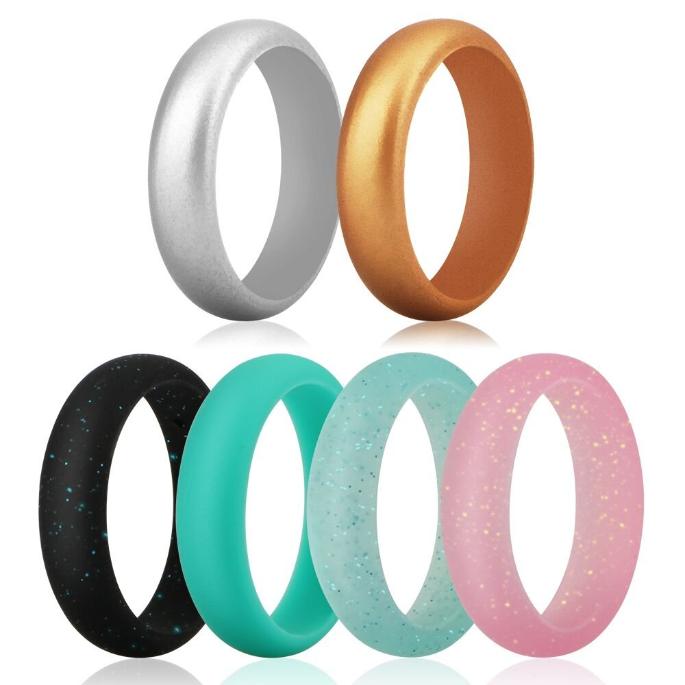 Funria Silicone Wedding Ring for Women, Silicone Rubber Bands Ring 6 Colors with Metal Silver and Metal Gold, Black Pink Teal with Glitter, Turquoise Fit for Sports and Outdoors