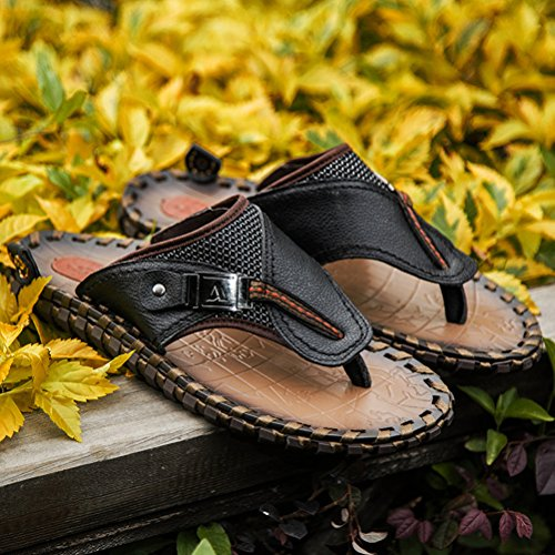 MatchLife Praktische Style1 Flops Leder Flip Hausschuhe Bequeme schwarz Herren Arbeitsschuhe Pantoletten pw1zprx