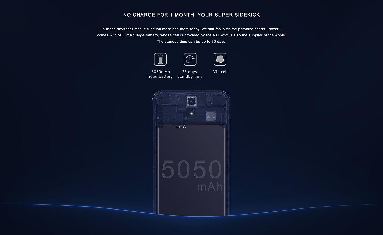 m-net power 1-Android 7.0, 5.0 pulgadas smartphone, 5000mAh batería, 720 * 1280 píxeles, 5.0Mp + 5.0Mp cámara 1 GB de RAM 8 GB de ROM de Quad Core a 1,3 GHz -Gris: Amazon.es: Electrónica
