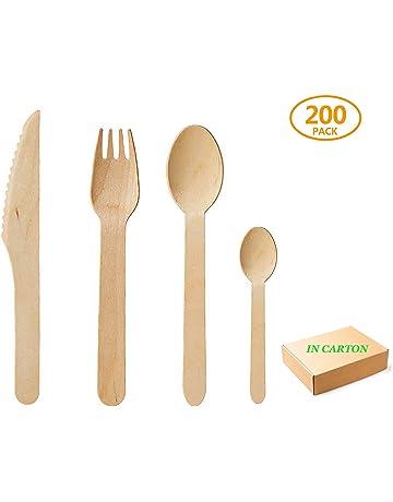 Sumnos 200pcs Cubiertos Desechables de Madera, 100% Madera Natural, Biodegradable, ecológico,