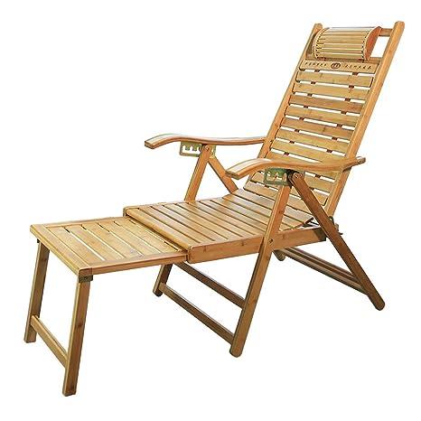 Amazon.com: Silla de salón plegable de bambú para exteriores ...