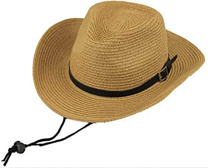 Straw Cowboy Hat Natural Brown Black Adjustable Rim Summer Holiday