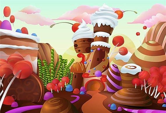 VVM 7x5ft Cartoon Backdrop Candy Land Theme Birthday Photo Shoot Props Dessert Party Decor Customized Baby Portrait Photography Background LFVV999
