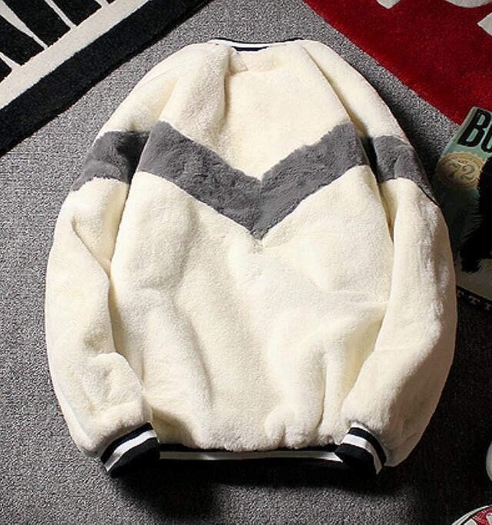YYG Mens Contrast Faux Fur Winter Zipper Plus Size Warm Down Quilted Coat Jacket Overcoat