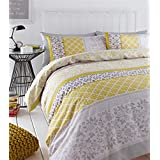 BANDED FLORAL BIRD YELLOW GREY COTTON BLEND CANADIAN QUEEN SIZE (COMFORTER COVER 230 X 220 - UK KING SIZE) (PLAIN SILVER GREY FITTED SHEET - 152 X 200CM + 25 - UK KING SIZE) 4 PIECE BEDDING SET