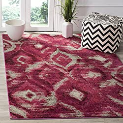 Safavieh Monaco Collection MNC242D Modern Geometric Ogee Watercolor Fuchsia and Cream Distressed Area Rug (3' x 5')