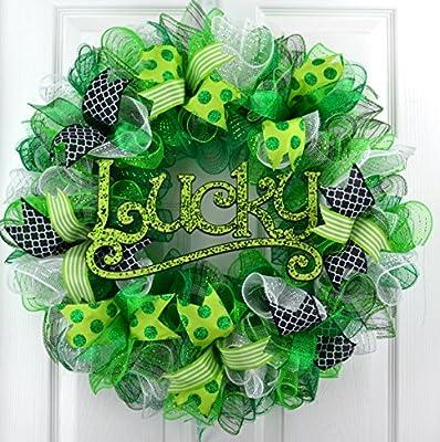 St Patricks Clover Lucky Day Mesh Door Wreath; green white