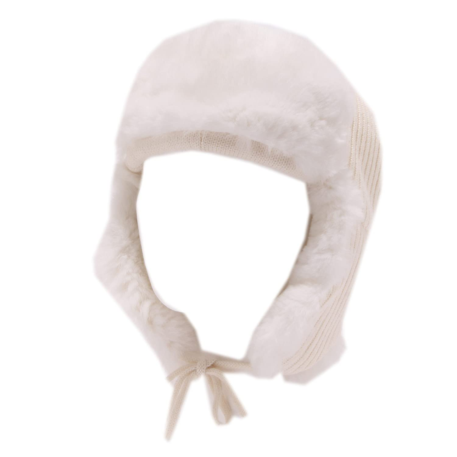 4437U cuffia bimba REGINA BY ANGELA MAFFEI lana fur wool white hat girl