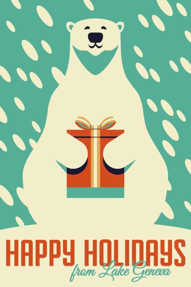大好き ジュネーブ湖、ウィスコンシン – Signed Happy Holidays – Bag ギフト Print – Polar Bear – レトロクリスマス Canvas Tote Bag LANT-83523-TT B07B293BX3 24 x 36 Signed Art Print 24 x 36 Signed Art Print, ツクデムラ:9d627d38 --- 4x4.lt
