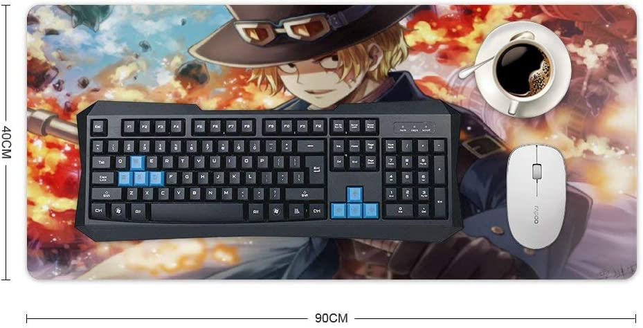 PC and Laptop,40x90cm Large,Keyboard and Mouse pad,Sabo One Piece Anime Anime Boys Computer Keyboard Extended Gaming Mouse Mat//Pad Ideal for Desk Cover