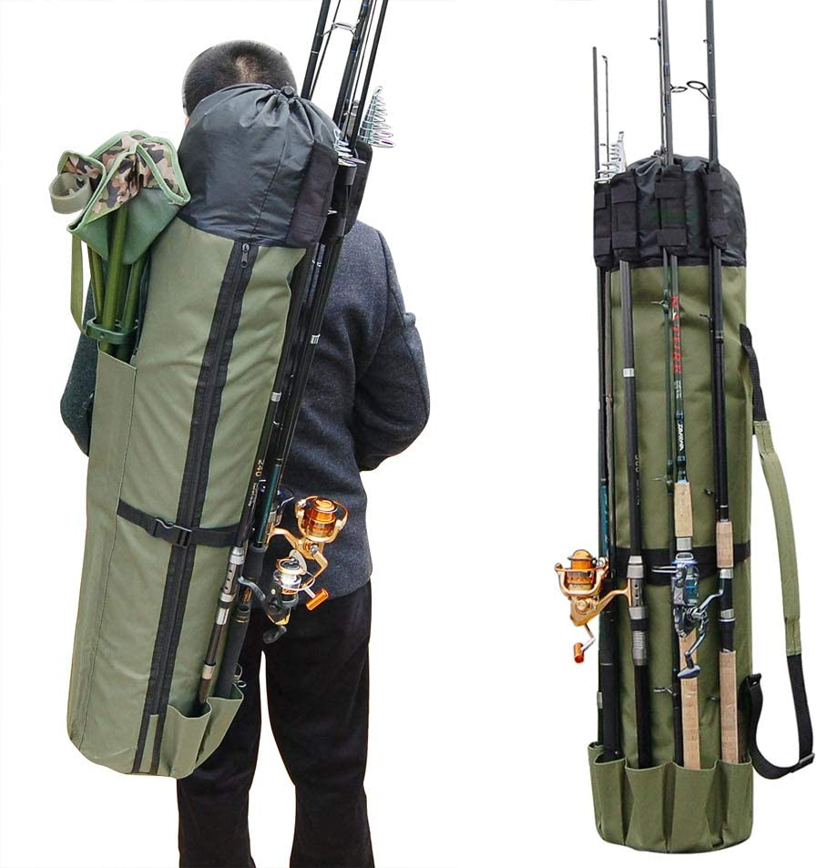 JSHANMEI Fishing Bag Fishing Rod Reel Case Carrier Holder Fishing Pole Storage Bags Fishing Gear Organizer Travel Carry Case Bag