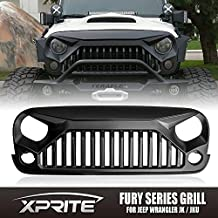 Xprite Front Matte Black Grill Grille for Jeep Wrangler Rubicon Sahara JK 2007-2016 (Fury Monster)