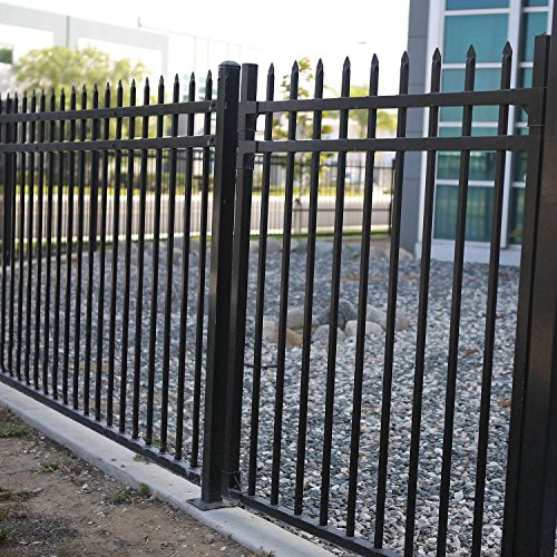 Black Fencing - Aspen Style 3-Rail Steel Fence Gate, Powder-Coated Black (4'W x 5'H)