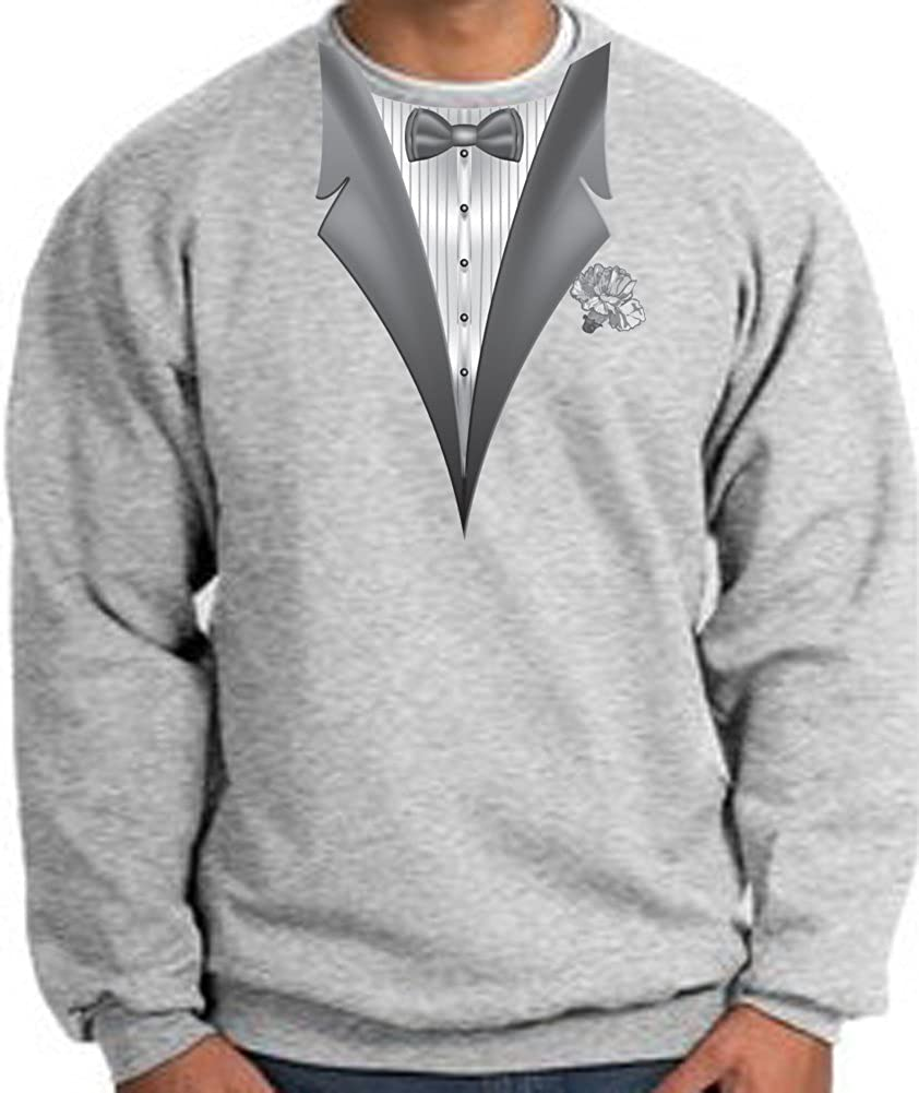 A/&E Designs Tuxedo with White Flower Tux Adult Sweatshirt Athletic Heather