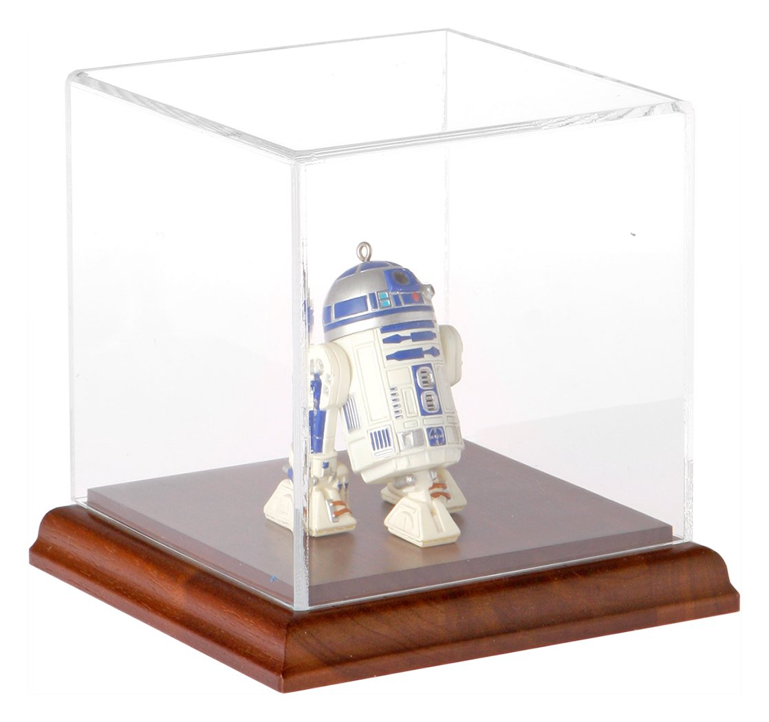 Plymor Small Acrylic Display Case with Hardwood Base, 4 inch x 4 inch x 4 inch