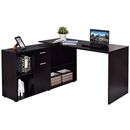 Tangkula L Shaped Desk Corner Desk, Home Office Wood Computer Workstation, Space  Saving Computer