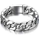 Style Masculine - Acier Inoxydable Bracelet Homme Chaîne Gourmette - Couleur Argent - Poli