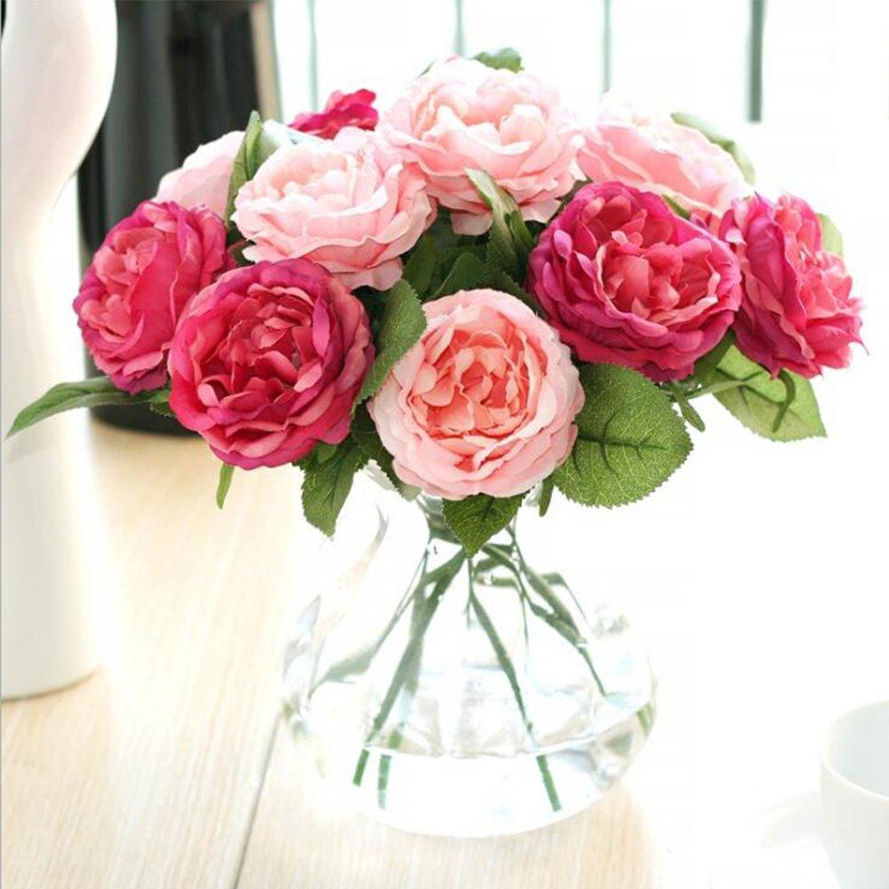 Felice Arts Artificial Rose Flower 6 Bundle 117 Fake Silk Big Head