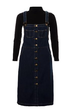 bfc92d5ae4a Fuchia boutique Women s Long Denim Dungaree Dress Ladies Pinafore Midi Maxi  Dress Skirt