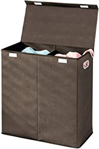 mDesign Extra Large Divided Laundry Hamper Basket with Removable Lid, Built-in Handles - Portable and Foldable for Compact Storage - Textured Print with Solid Trim, Chrome Handles - Espresso Brown