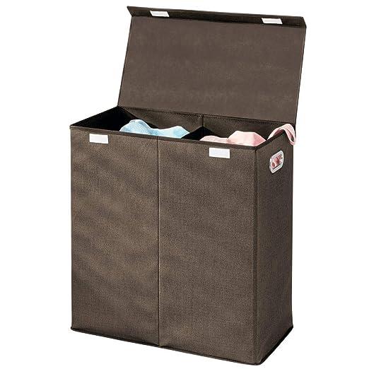 mDesign Cesto para ropa sucia en polipropileno transpirable – Cubo para colada plegable con 2 divisiones – Bolsa para guardar ropa con tapa y asas – ...