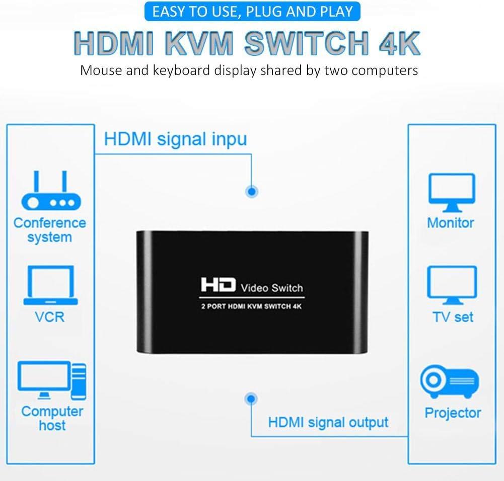 Mit 2 USB-Kabeln USB-Umschalter 4K HDMI-Umschaltbox 2-in-1-out f/ür 2 Computer Tastatur- und Mausunterst/ützung 4K @ 30Hz 3D f/ür Laptop PS4 PC Xbox HDTV Seayahy KVM HDMI-Umschalter