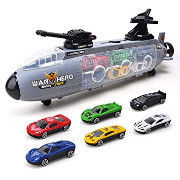 WDXIN Infantil Juguete Garaje Nave de Guerra Deslizante ...