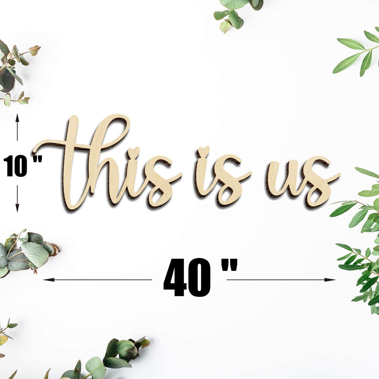 This is Us Signs Home Wall Decor Art Quotes Sayings for Family Home Unfinished Script Wood Sign Word Cutouts College Dorm Wall Décor Office Gift