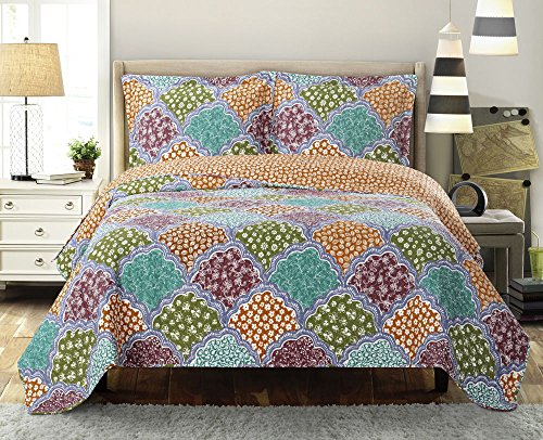 Dahlia California King Size, Over-Sized Quilt 3pc set, Luxury Microfiber Printed Coverlet by sheetsnthings ()