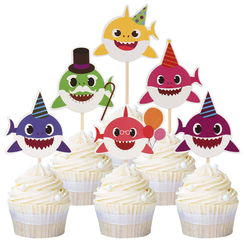 jicang 24pcs Cute Baby Shark Cupcake Toppers Picks for Kids Baby Shower Birthday Cake Decoration Party Supplies
