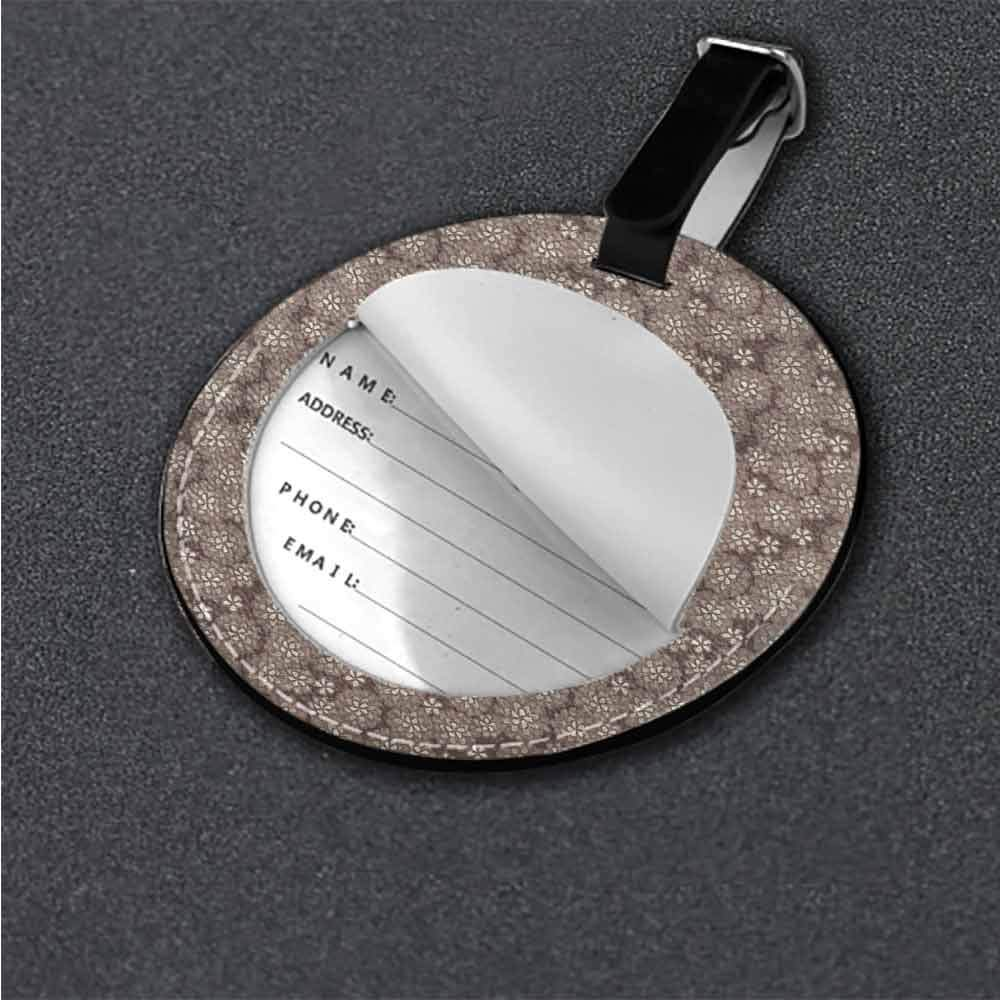 Funky Travel Luggage Tags Beige,Floral Arrangement Motif Tag Portable Women
