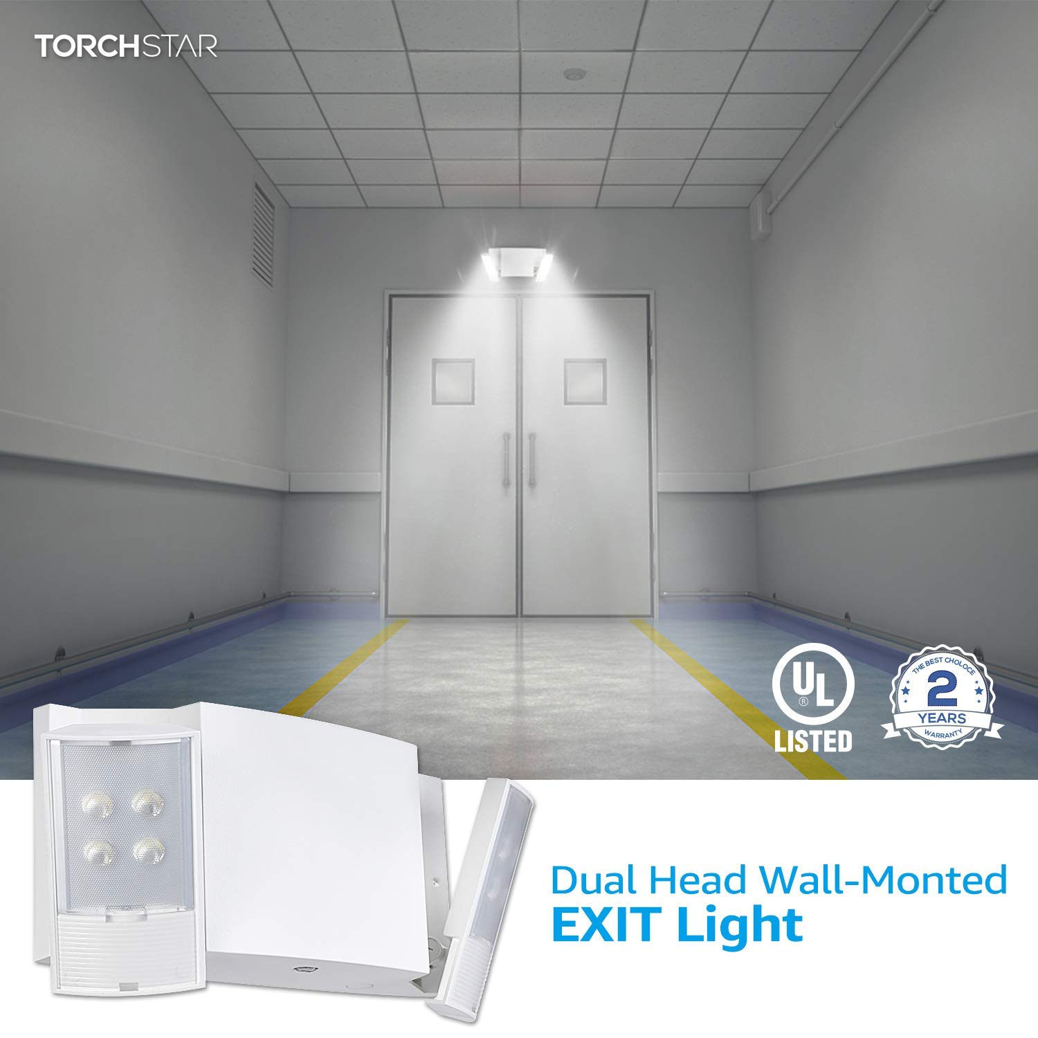 TORCHSTAR LED Emergency Light with Battery Backup 1000mAh Rechargeable Battery Renewed UL924 Listed High Light Output for Office Buildings Hotels Adjustable Dual Heads Pack of 2 120-277V Warehouses
