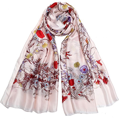 Silk Like Scarf Large Satin Headscarf Fashion Garden Wrap Neck Scarves for Women Pink