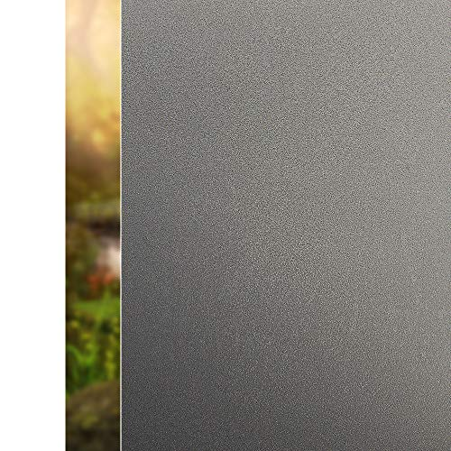 "Rabbitgoo Frosted Window Film Window Privacy Film Static Cling Frosted Glass Film Non Adhesive Window Covering Film Anti UV Window Sticker for Home Bathroom Privacy, Dark Brown 35.4"" x 78.7"""