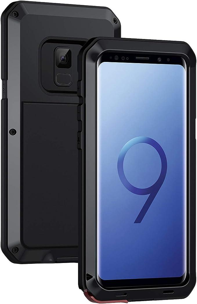 Seacosmo Coque de protection pour Galaxy S9 en aluminium robuste et résistant aux chocs double couche pour Samsung Galaxy S9, noir