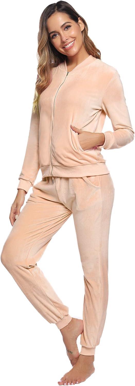 Abollria Damen Velours Trainingsanzug 2 Teiller Nicky Hausanzug Kuschlig Jogginganzug Sportliche Zip Jacke mit Stehkragen+Hose mit Kordelzug und Taschen