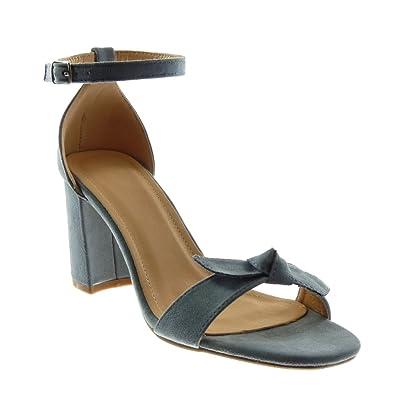 Angkorly Chaussure Mode Sandale Escarpin Lanière Cheville Femme Noeud Lanière  Talon Haut Bloc 7.5 cm - f7003feaa92
