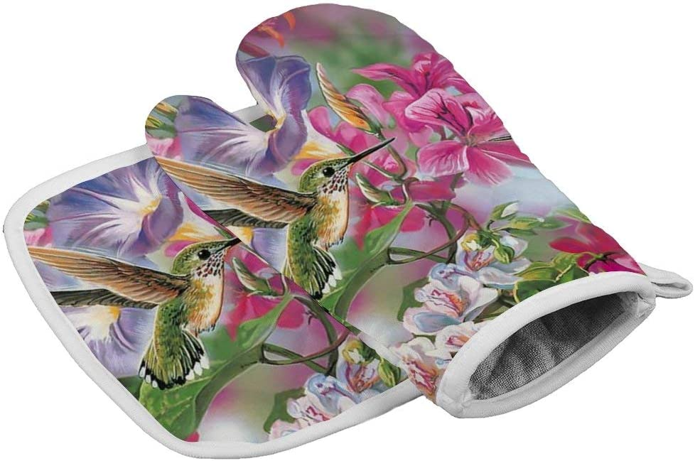 July-Seven Lovely Hummingbird and Pink Flowers1 Oven Mitts,Professional Heat Resistant Microwave BBQ Oven Insulation Thickening Cotton Gloves Baking Pot Mitts with Soft Inner Lining