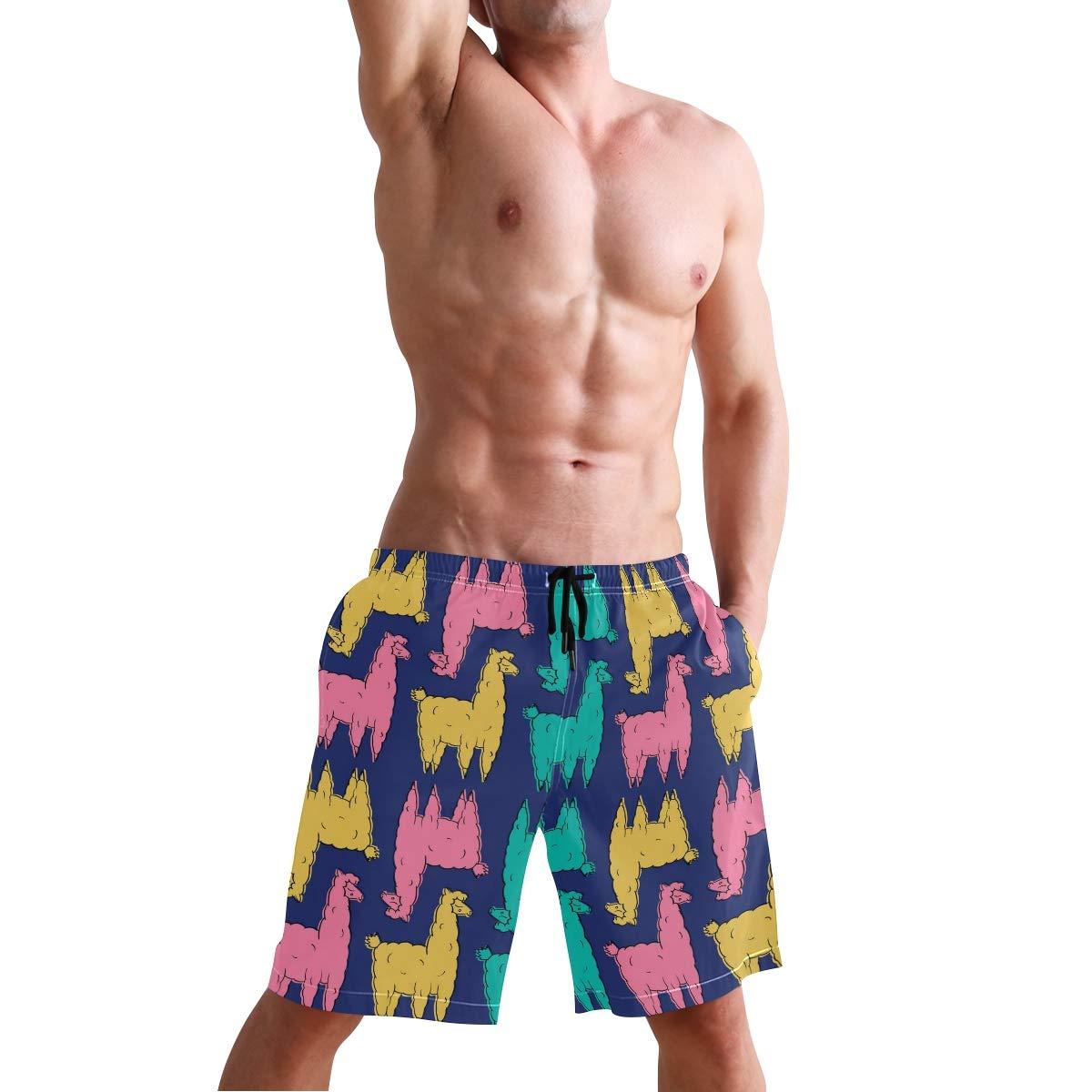 DEYYA Colored Alpaca Summer Beach Shorts Pants Mens Swim Trunks Board Short for Men