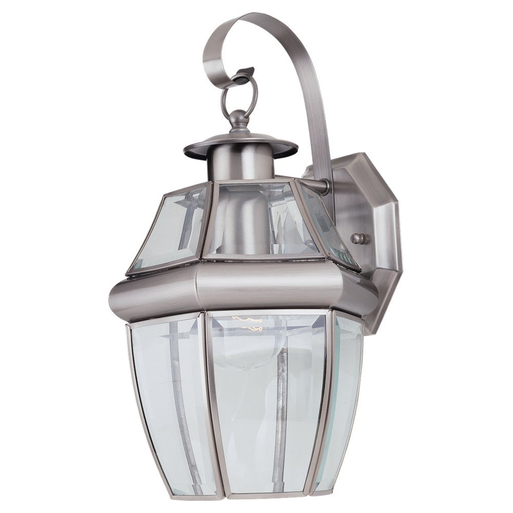Amazon sea gull lighting 8037 965 single light lancaster small amazon sea gull lighting 8037 965 single light lancaster small classic outdoor wall lantern clear beveled glass and antique brushed nickel home workwithnaturefo