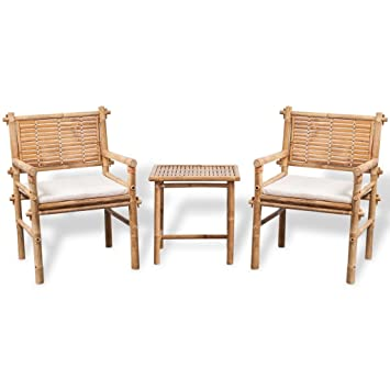 vidaXL Jeu de mobilier de jardin 5 pièces en bambou Ensemble Salon ...