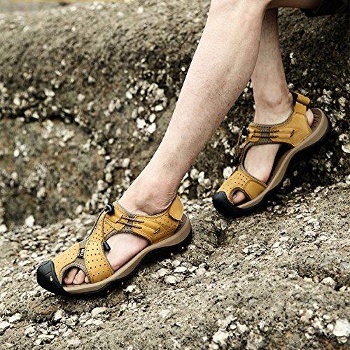 Punta Aire De Playa para Libre Sandalias De Verano De De para Caminar Zapatos Calzado Zapatos Deportes Al Yellow Cuero Cerrada Senderismo Cómodo Hombres De r8w86ExIqB