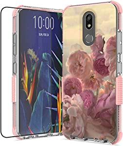 for LG K40 Case, LG Xpression Plus 2, LG Harmony 3, LG Solo LTE, LG K12 Plus, LG X4 2019, with Tempered Glass Screen Protector, Shockproof TPU Case (Pink)