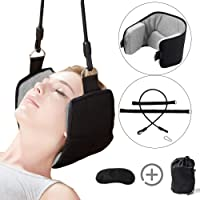 Neck Hammock for Neck Pain Relief Portable Cervical Neck Traction Device with Adjustable Straps, Eye Mask and Carry Bag